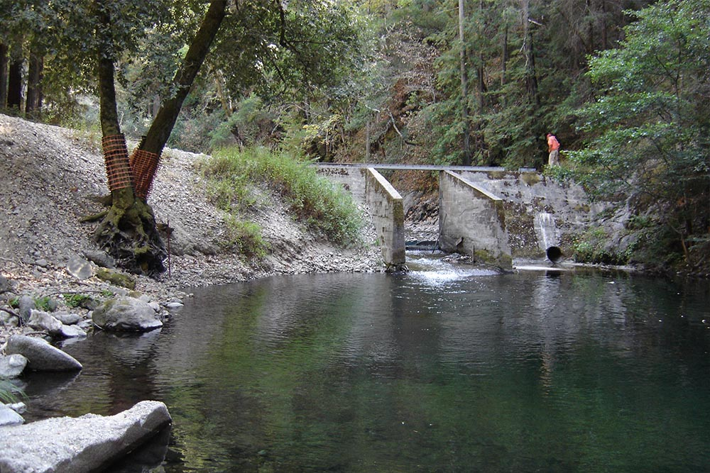 Camp pico blanco dam made by Don Chapin in Monterey county